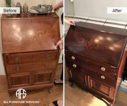 Antique Drop Down Desk Top Restoration refinishing vineer replacement repair