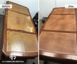 Desk Table Leather Top change gold lines detail repair restoration embossed