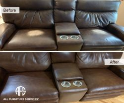 Furniture Sofa Leather seat back discoloration peeling color coming out repair match dye restore headrest worn