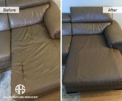 Furniture seat leather vinyl repair partial upholstery change restore damaged seam stitch connection half