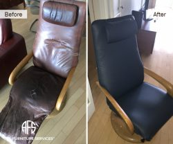 Leather Recliner Rocker chair antique reupholstery material change repair and restoration