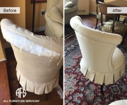 Wingback High Back chair re-upholstery change of material padding