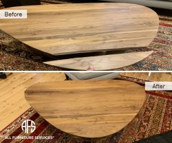 coffee table wood top broken in half cracked damaged chipped repair glue finish stain