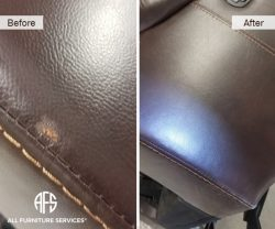 leather vinyl furniture pet animal damage chip scrape pull repair color match fill and dye