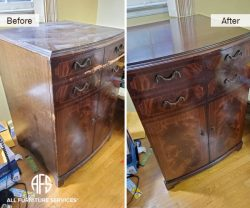 Cabinet Chest furniture veneer finish restoration repair finishing