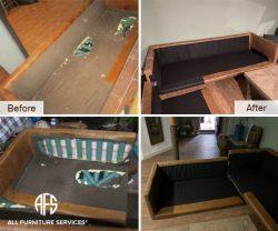 Sofa chair sectional loveseat seat deck fabric material back straps repair and replacing