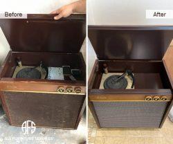 antique radio vinyl disk player case good restoration