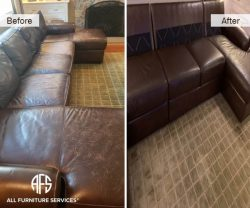 furniture couch sectional sofa leather dyeing restoring color enhancing cracks peeling fading discoloration