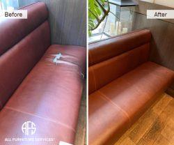restaurant hotel bench reupholstery leather vinyl change