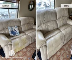 Leather Power electric lift recliner couch repair dicoloration cat scratch dyeing cleaning restoring
