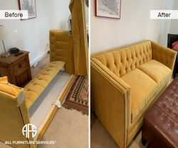 Tufted nailhead chesterfield Room and Board Mitchell Gold upholstered microfiber velvet sofa couch disassembly to fit