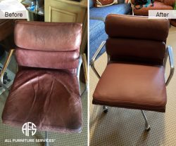 Worn Leather Chair Reupholstery padding cushion change