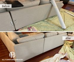 fabric couch sectional furniture partial part replacement torn tear back change parts install fix delivery damage