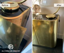 furniture cabinet table credenza laminate metal veneer melamine gold brass copper install glue repair