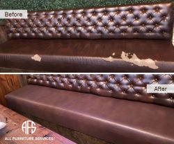 tufted leather vinyl damaged peeled cracked restaurant bench seat upholstery repair