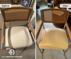 Cane Chair Leather Seat Piping re-upholstery change to new