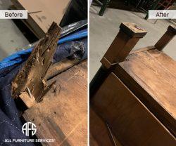 Furniture table dresser cabinet broken missing cracked leg restore refurbsih make new finish fix install