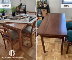 kitchen dining room table top repair discolroation worn finish scratches refinish on site in shop near me