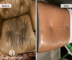 Eames Knoll Chair seat back tufted button change leather color restoration repair upholster