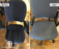 Office Chair ReUpholstery change fabric material seat back