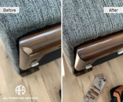furniture wood arm leg base chip scratch damage repair color fill touch-up finish croner
