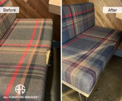 retain facility store boat shop bench repair upholstery fabric patch stitch reupholster