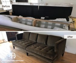 tufted custom oversize large sofa taking apart break down cut resize disassemble assemble fit into apartment NYC