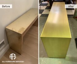Brass Bronze Furniture restoration polishing sealing finishing gold  paint clear coating removing oxidation stains marks