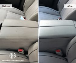 Car plane leather vinyl console discoloration burn damage repair fill color match dye clean