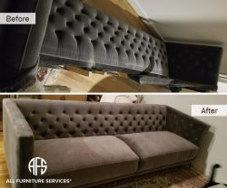 Oversize Tufted couch sofa disassembly assembly to fit break down take apart