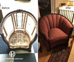 Rebuilding-antique-chair-springs-straps-padding-upholstery