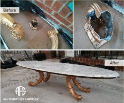 Repairing-antique-brass-bronze-metal-table-furniture-cracked-leg