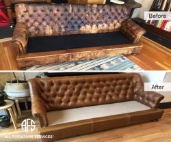 Tufted Sofa Re-upholstery leather replacement restoration of antique furniture