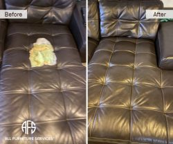 chaise-sectional-sofa-refurbish-tufted-seat-vinyl-bonded-leather-repair-reupholstered-padding-firm-change