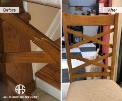 Cracked chair back repair furniture leg restoration shop wood damage fix nyc shop