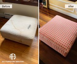 Ottoman re-upholstery change material upholster with pipping fabric
