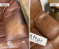 Sofa chair loveseat furniture arm headrest discoloration color match dye clean paint fix repair worn area