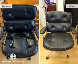 office computer tufted chair re-upholstery change leather seat back arms gas cylinder base strut mechanism restoration furniture jersey