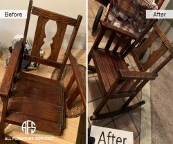 Antique Wooden Rocking chair repair replace wood restore refinish refurbish make it new color change