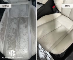Car Auto plane boat seat perforated leather vinyl damage cut tear crack stain burn discoloration repair clean paint color match dye Staten Island NY New York best restorer