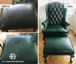 Chair and Ottoman stool repair leather replacing reupholstery crack restoration dyeing restoring in New York New Jersey