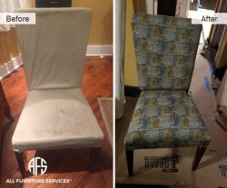 Chair furniture upholstery change material fabric dining room seat re-upholstery add padding loose frame leg NYC