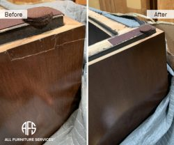 Cracked wood veneer leg base panel on furniture repair glue fill in touch up blend finish restore color tone finish on-site