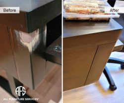 Wooden cabinet table desk gouge crashed corner crack chip scratch repair fill color match blend seal finish grain veneer on-site in-home emergency same day New York