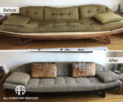 antique designer shaped wooden base tufted sofa furniture upholstery change material fabric chair loveseat nyc new york jersey