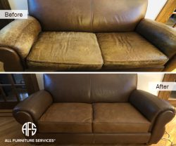 loveseat leather sofa chair furniture seat casing change arms dyeing color match restoration partial upholstery fix worn peeling discoloration