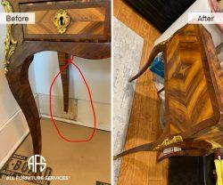 Antique Cabinet Table Broken Leg Repair Extension build veneer restoration