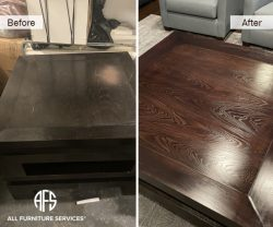 Building lobby office commercial maintenance wooden furniture touch up clean finish coffee table refinishing restoration