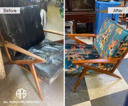 modern atnique unique custom designer chair furniture customization restoration change appearance refurbish refinish color fabric leg tips gold wood stain arms