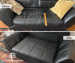 Sofa Loveseat Chair Furniture re-upholstery repair leather torn seam stitch padding tufting decorative lines